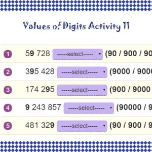 Key Stage Two Values of Digits Activity 11