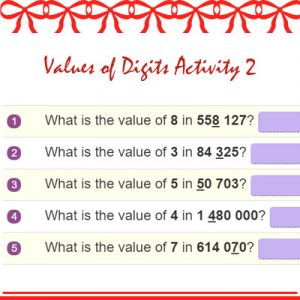 Key Stage Two Values of Digits Activity 2