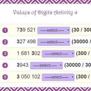Key Stage Two Values of Digits Activity 4