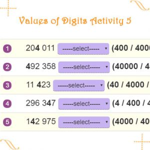 Key Stage Two Values of Digits Activity 5