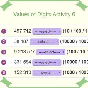 Key Stage Two Values of Digits Activity 6