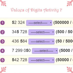 Values of Digits Activity 7