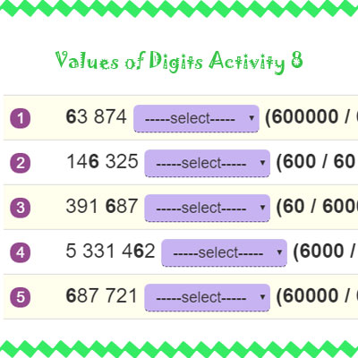 Values of Digits Activity 8