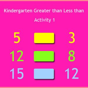Kindergarten Greater than Less than Activity 1 Kindergarten Greater than Less than Activity 1