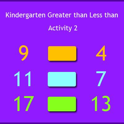 Kindergarten Greater than Less than Activity 2