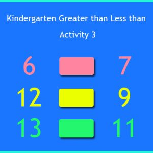 Kindergarten Greater than Less than Activity 3 Kindergarten Greater than Less than Activity 3