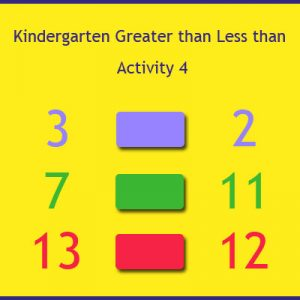 Kindergarten Greater than Less than Activity 4 Kindergarten Greater than Less than Activity 4
