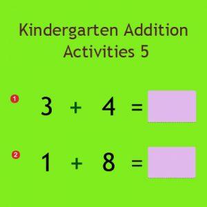 Kindergarten Addition Activities 5 Kindergarten Addition Activities 5