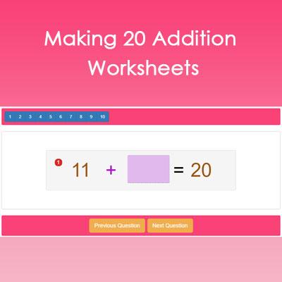 Making 20 Addition Worksheets Making 20 Addition Worksheets