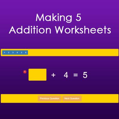 Making 5 Addition Worksheets Making 5 Addition Worksheets