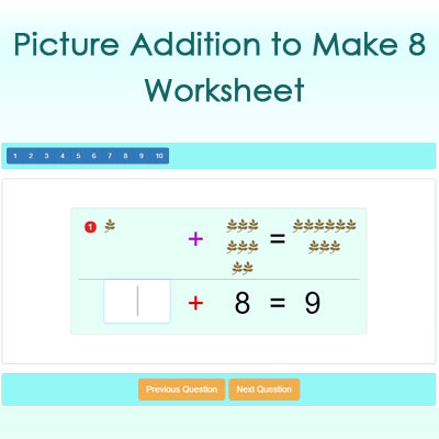 Picture Addition to Make 9 Worksheet Picture Addition to Make 9 Worksheet