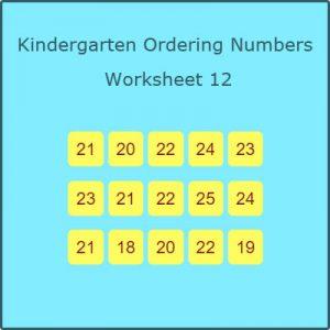 Kindergarten Ordering Numbers Worksheet 1