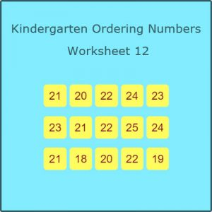 Kindergarten Ordering Numbers Worksheet 12