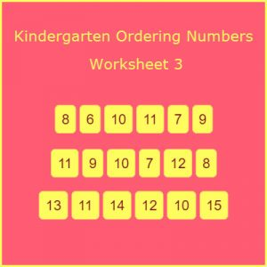 Kindergarten Ordering Numbers Worksheet 3
