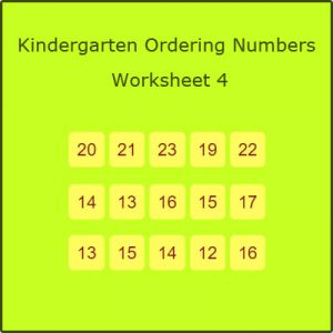 Kindergarten Ordering Numbers Worksheet 4