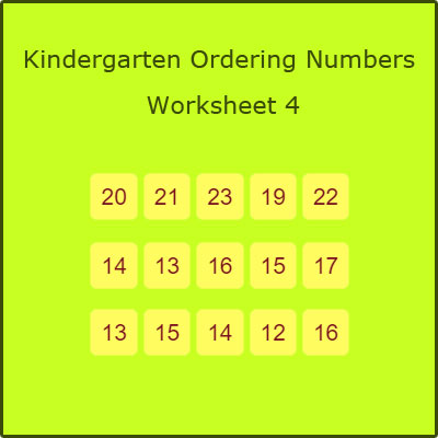 Kindergarten Ordering Numbers Worksheet 4 Kindergarten Ordering Numbers Worksheet 4