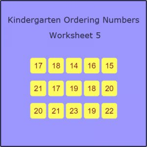 Kindergarten Ordering Numbers Worksheet 5