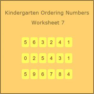 Kindergarten Ordering Numbers Worksheet 7