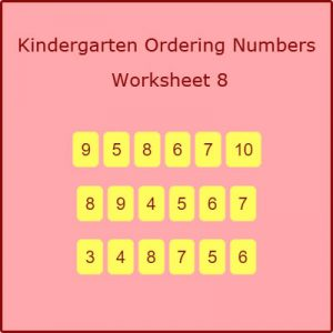 Kindergarten Ordering Numbers Worksheet 8 Kindergarten Ordering Numbers Worksheet 8