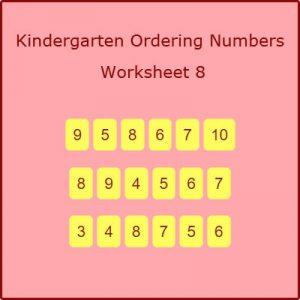 Kindergarten Ordering Numbers Worksheet 8