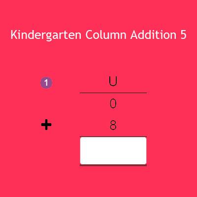 Kindergarten Column Addition 5