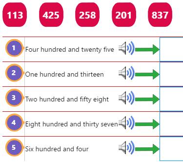Three Digit Number Words Activity 2