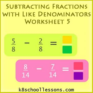 Subtracting Fractions with Like Denominators Worksheet 5 Subtracting Fractions with Like Denominators Worksheet 5