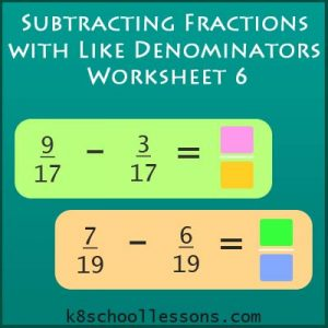 Subtracting Fractions with Like Denominators Worksheet 6 Subtracting Fractions with Like Denominators Worksheet 6