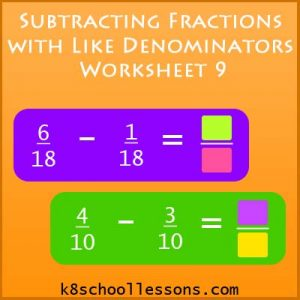 Subtracting Fractions with Like Denominators Worksheet 9 Subtracting Fractions with Like Denominators Worksheet 9