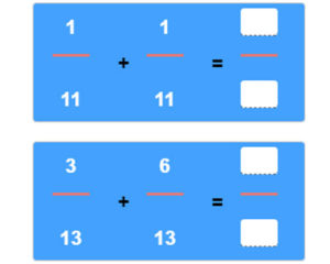 Key Stage Two Adding Fractions with Like Denominators Worksheet 19
