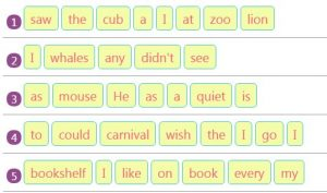 Key Stage One Rearranging Jumbled Words to Make Sentences Activity 19