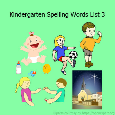 Kindergarten Spelling Words List 3