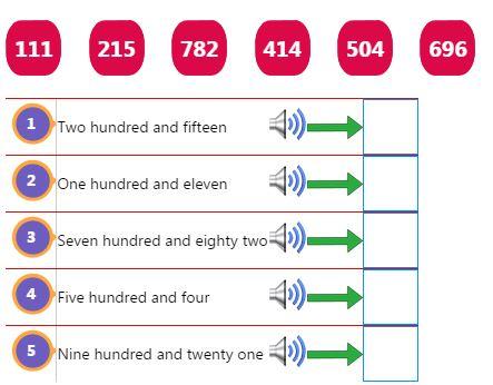 Three Digit Number Words Activity 1