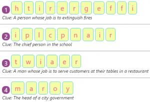 Key Stage One Workers of the Community – Spellings by Rearranging Jumbled Letters – 1