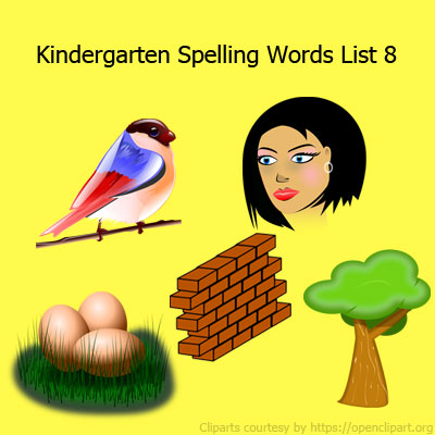 Kindergarten Spelling Words List 8