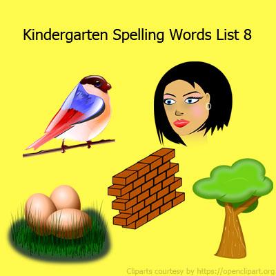 Kindergarten Spelling Words List 8 Kindergarten Spelling Words List 8