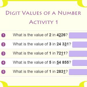 Digit Values of a Number Activity 1