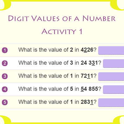 Digit Values of a Number Activity 1 Digit Values of a Number Activity 1