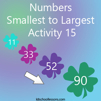 Numbers Smallest to Largest Activity 15