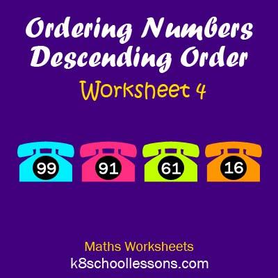 Ordering Numbers Descending Order Worksheet 4