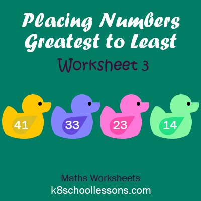 Placing Numbers Greatest to Least Worksheet 3