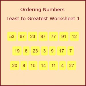Key Stage One Ordering Numbers Least to Greatest Worksheet 1