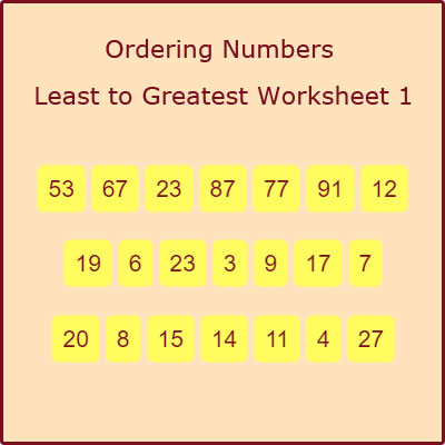 Ordering Numbers Least to Greatest Worksheet 1 Ordering Numbers Least to Greatest Worksheet 1