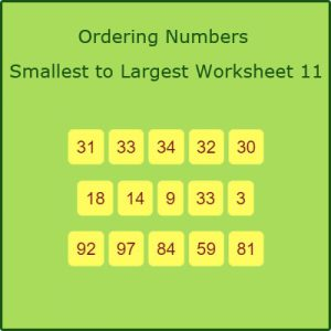 Key Stage One Ordering Numbers Smallest to Largest Worksheet 11