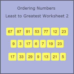 Key Stage One Arranging Numbers Least to Greatest Worksheet 2