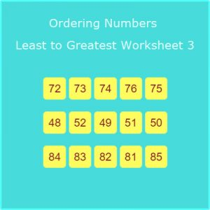 Key Stage One Placing Numbers Least to Greatest Worksheet 3