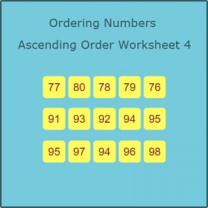 Key Stage One Ordering Numbers Ascending Order Worksheet 4