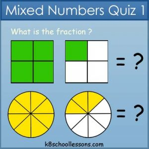 Mixed Numbers Quiz 1 Mixed Numbers Quiz 1