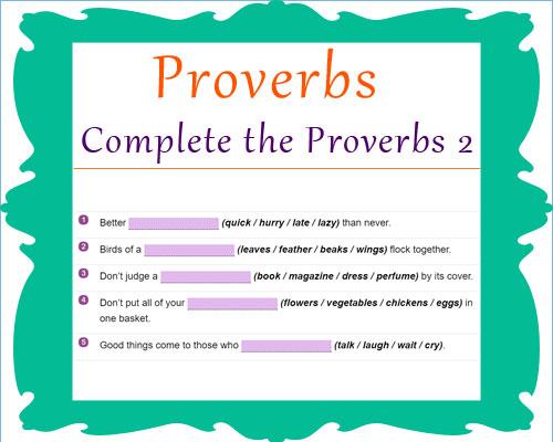 English Proverbs Activities 2 English Proverbs Activities 2