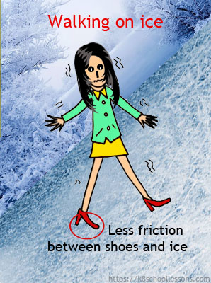 Examples of less friction - walking on ice